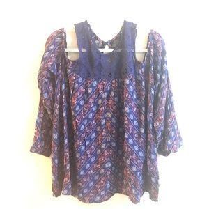Boho Off Shoulder Floral Blouse Top Shirt Sz 2X JR